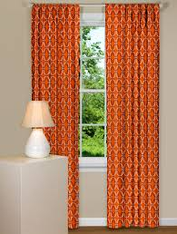 Orange And Brown Curtains Modern Orange Curtains With Geometric Design In Black And