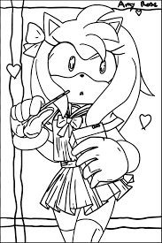 amy rose student coloring page wecoloringpage