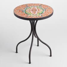 outdoor mosaic accent table beetle cadiz accent table world market