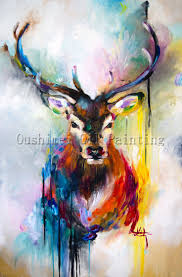 Home Decoration Painting by X Series 100 Handmade Colorful Animal Deer Portrait Oil Painting