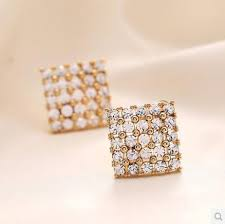 cheap diamond earrings 2017 new 2014 fashion artificial diamond earrings gold plated stud