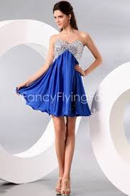 graduation dresses for high school sparkled silver and royal blue sweetheart empire mini length