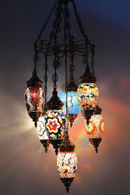 Turkish Chandelier 7 Glass Globe Turkish Moroccan Chandelier Lighting Fixture