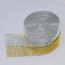 popular ribbons trims rhinestones buy cheap ribbons trims 1 yard 4cm 8 rows gold silver diamond mesh wrap roll sparkle trimming rhinestone crystal cake