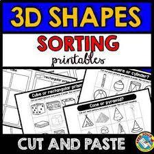 real life 3d shapes sorting worksheets kindergarten cut and paste