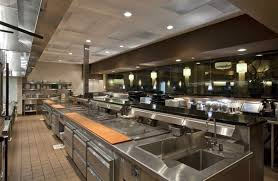 gold and grey kitchen restaurant with cream modern floor with