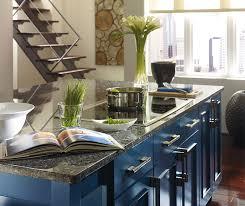 blue kitchen island with oak cabinets wood cabinets with a blue kitchen island omega