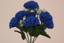 blue carnations royal blue artificial silk carnation 7 heads flowers bush bunch
