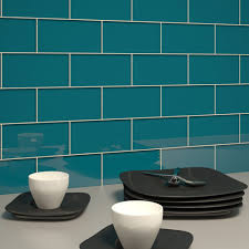 Glass Subway Tile Dark Teal  X  Piece Kitchen Backsplash - Teal glass tile backsplash