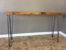 salvaged wood console table reclaimed wood console table w hairpin legs handmade