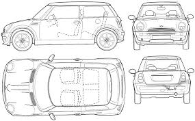 mini car blueprints die autozeichnungen les plans d