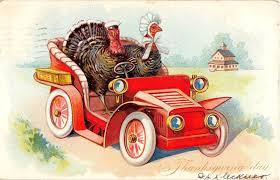 thanksgiving day turkeys driving car antique tuck postcard