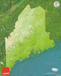 Physical Map United States by Physical Map Of Maine Satellite Outside