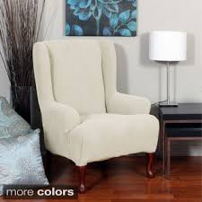 sure fit slipcovers wing chair sure fit stretch plush wing chair slipcover free shipping