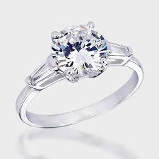 engagement rings with baguettes 2 0 ct baguette cz solitaire engagement ring cubic