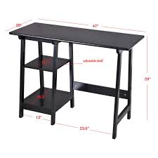 Adjustable Desk Shelf Manhattan Open Computer Desk With Adjustable Shelf Black Hayneedle