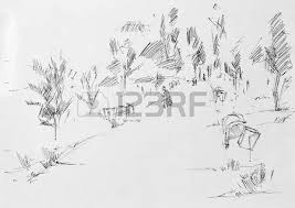 alley with place for picnic sketch pencil stock photo picture