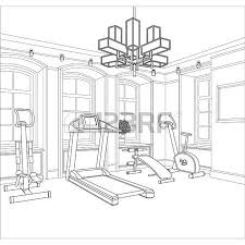 line drawing of the interior on a white background royalty free