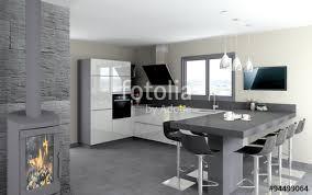 cuisine table cuisine 09 cuisine blanc brillant et table granit noir photo