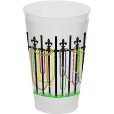 mardi gras cups mardi gras bead fence 20 oz frosted cups party cup express