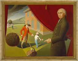 grant wood parson weems fable 1939 oil on canvas 38 3 8 x 50 1 8 in 97 5 x 127 3 cm amon carter museum of american art fort worth texas 1970 43