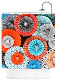 Orange And Blue Curtains Orange And Aqua Curtains Colorful Shower Curtain Turquoise Teal