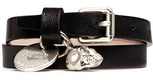 leather bracelet with skull charm images Lyst alexander mcqueen skull charm double wrap leather bracelet jpeg