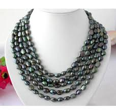 beaded pearl necklace images Aa 9 11mm black green baroque natural freshwater pearl necklace jpg