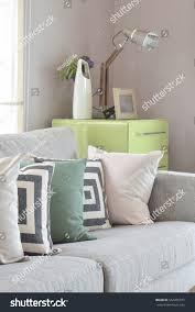 cozy gray sofa geometry pattern pillows stock photo 562205377