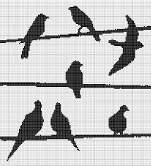 textile arts now birds on wires one color cross stitch pattern