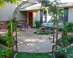 Small Backyard Design by Front Yard Landscaping Ideas With Outdoor Black Patio Chairs And