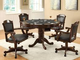 Kitchen Table With Wheels by Amazon Com 3 In 1 Oak Finished Wood Poker Pool Game Dining