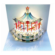 ge feng forever happy birthday carousel amazing pop up greeting card