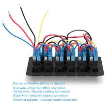 car marine boat 6 gang circuit blue led rocker switch panel