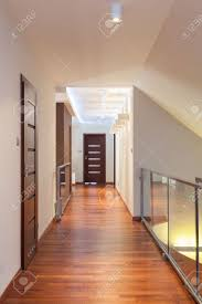 contemporary interior grand design long corridor in a contemporary interior stock
