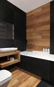 wood and dark grey bathroom tiles bathroom designs pinterest modern bathroom with black wall tiles and wood imitation