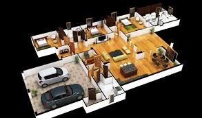 wonderful 3d colored house floor plans home cleaning 4 bedroom