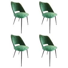beautiful set of four italian green velvet chairs circa 1960 at