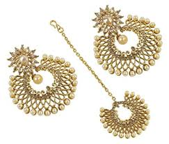 earrings pic buy muchmore gold plated dangle drop earrings with mangtikka for
