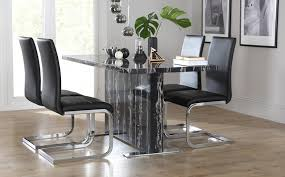 Magnus Black Marble Dining Table With  Perth Black Chairs Only - Marble dining room furniture
