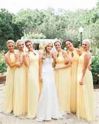 light yellow country style bridesmaid dresses 2017 chiffon a line