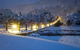 Winter House Wallpaper Bridge Snow Lights Winter House River Desktop