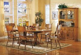 Light Oak Dining Room Sets 7 Trestle Dining Set With Press Back Chairs In Light