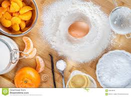 Wooden Kitchen Table Background Baking Cake In Kitchen Dough Recipe Ingredients With Fruit On