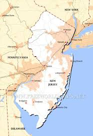 New York Political Map by Physical Map Of New Jersey