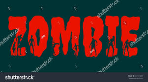 halloween zombie background zombie word silhouettes on them halloween stock illustration