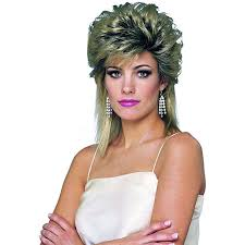 eighties halloween costumes amazon com 80s sprayed wig mixed blonde one size clothing
