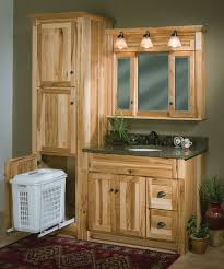 Bathroom Cabinet With Hamper Amusing Hickory Bathroom Cabinets With Additional Home Designing
