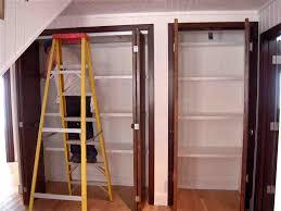 How To Install Folding Closet Doors Furniture White Folding Closet Doors Ideas With Golden Handle