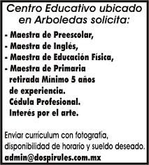 sueldos de maestras de primaria aos 2016 centro educativo ubicado en arboledas solicita maestra de